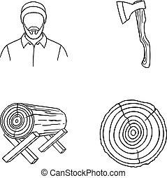 Carpenter, log on supports, ax, cut logs.