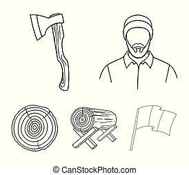 Carpenter, log on supports, ax, cut logs. Sawmill and timber set collection icons in outline style vector symbol stock illustration web.