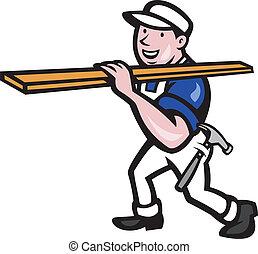 Carpenter Worker Carrying Timber Cartoon