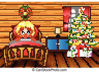 Cartoon a girl going to bed in her room with a christmas tree