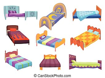 Cartoon beds collection. Vector illustration of color beds with pillow and covers. Icons of furniture