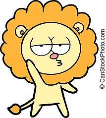 cartoon bored lion waving