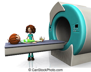 A young cartoon boy getting ready for a Magnetic resonance imaging scan, MRI. A nurse is beside him. White background.