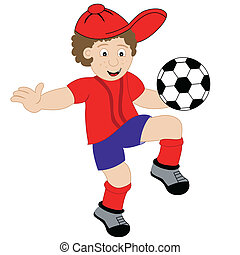 Young child cartoon character playing with his football, wearing his soccer kit. Isolated on a white background