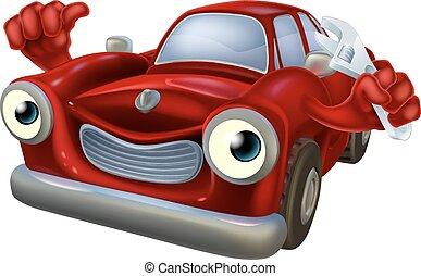 Cartoon car with spanner