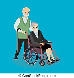 Cartoon caucasian Grandpa with a cane and grandmother in a wheelchair,