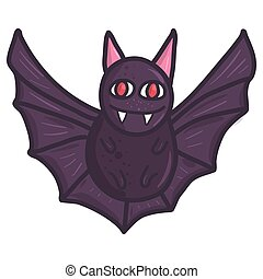 Cartoon character bat. Happy halloween monster icon concept.