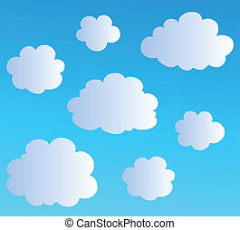 Cartoon clouds collection 3 - vector illustration.