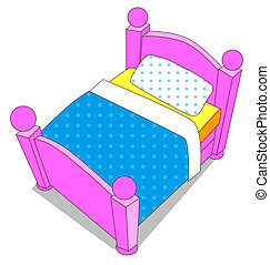 cartoon color bed on the white background