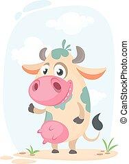 Cartoon cute cow standing . Vector illustration