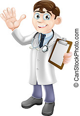 An illustration of a friendly cartoon doctor holding a clipboard and waving