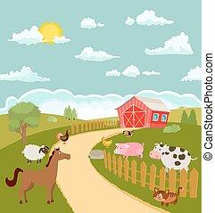 cartoon farm with cute animals. vector illustration