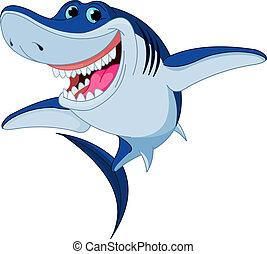 Cartoon funny shark isolated on white background