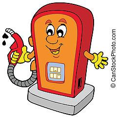 Cartoon gas station - vector illustration.