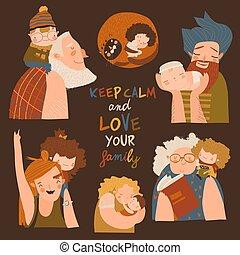 Cartoon happy family vector set. Parents grandparents children together