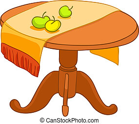 Cartoon Home Furniture Table Isolated on White Background. Vector.