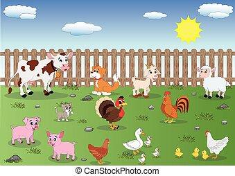 Cartoon Illustration of Farm Animals. Domestic animals