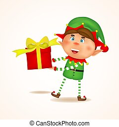 Cartoon Joyful Xmas elf holding gift. Giving gifts, presents, box. Christmas concept. Vector illustration of elf on white background. Isolated.