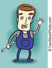 Cartoon mechanic holding a wrench.