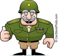 An illustration of a cartoon military general giving a thumbs up sign.