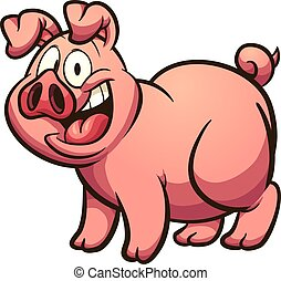 Happy cartoon pig with big smile. Vector clip art illustration with simple gradients. All in a single layer.
