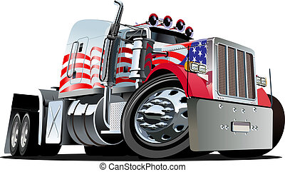 Cartoon semi truck isolated on white background. Available EPS-10 vector format separated by groups and layers for easy edit