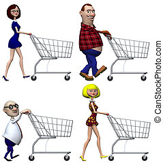 Happy smiling cartoon people Shoppers push Shopping Carts. Isolated on white. 3D illustration.