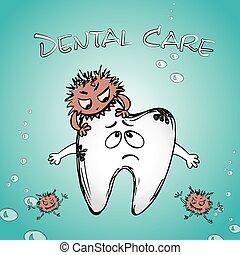 cartoon sick tooth with bacteria
