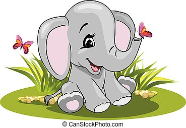 Cartoon smiling elephant with butterflies