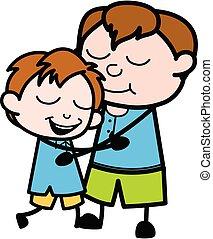 Cartoon Teen Boy Giving a Hug