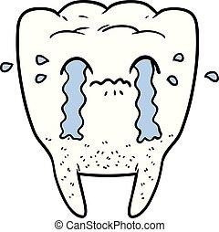 cartoon tooth crying