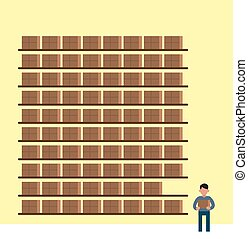 Cartoon warehouse, giant stock supply with little man standing around holding box. Storage place infographics elements, simple vector illustration.