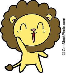 cartoon waving lion