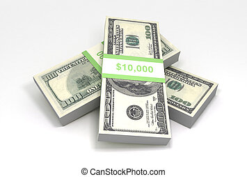 3D rendering of a stack of cash. $100 dollar bills