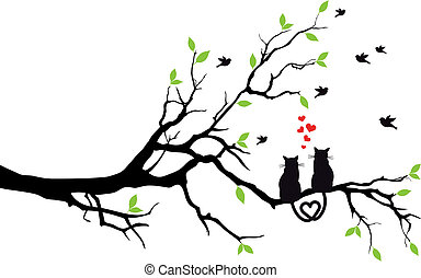 cats in love on tree, vector