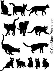 Vector black and white silhouettes of cats