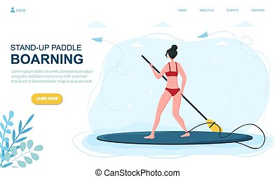 Caucasian woman stand-up paddle boarding