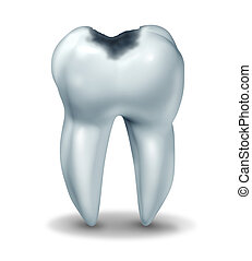 Tooth cavity symbol showing the medical anatomy of teeth with a cavity in decay due to bacteria and acids in oral health care showing rotting and oral disease due to lack of brushing flossing.