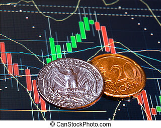 Approximately the same value of coins of two main competitor in the foreign exchange currency market.