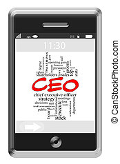 CEO Word Cloud Concept on Touchscreen Phone