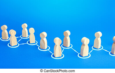 Chain of connected people. Cooperation, collaboration. Communication. Chain reaction, spread of information and rumors exchange. Partnership, unity, assistance. Interaction of persons.