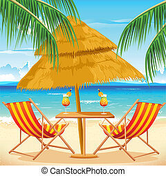 illustration of chair on beach background with palm tree