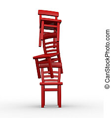 Three chairs in equilibrium on white background - 3d render