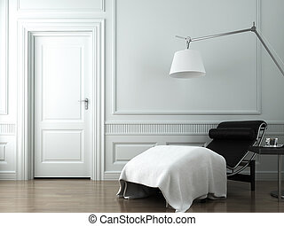 chaise lounge on white classic wall