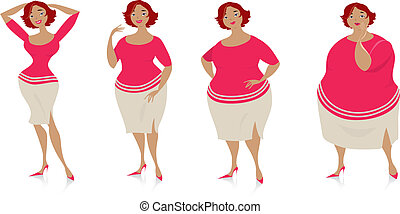 Vector illustration of four stages of a slimming lady