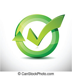 check mark – approval sign cycle illustration design over white
