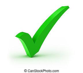 Green check mark over white background