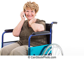 disabled senior woman talking on cell phone