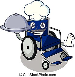 Chef with food cartoon wheelchair in a hospital room