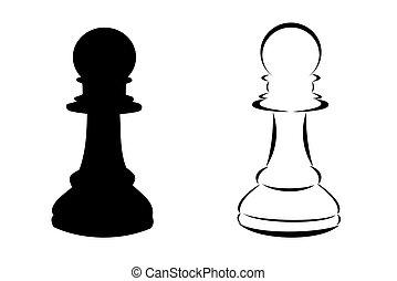 A black tribal chess pawn tattoo